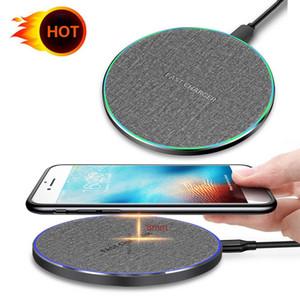 10Вт Ци Беспроводное зарядное устройство для iPhone 11 Pro Max Ткань Поверхностный Портативный Micro USB кабель Mini Быстрая зарядка Pad для Samsung Galaxy Note10