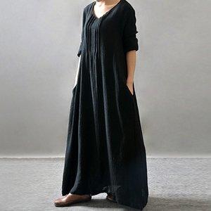 Summer Dress Plus Size Women Clothing Summer 2019 Vintage Dresses Women V Neck Long Sleeve Plus Size Robe Femme Designer Clothes