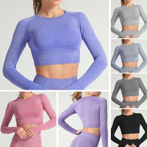 Women Yoga Crop Top O Neck Long Sleeve Dots Bodycon Stretchable Running Gym Sports T-Shirt