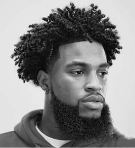 LIVRAISON GRATUITE Chaud Selling serré Curly Real Callp Silk I-dentelle Toupée pour hommes 100% Remplacement des cheveux humains pour fan de football