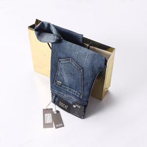 Промывают 2019 летний стиль лугу VDOSS известный бренд дизайн мужская свободного покроя тонкий летом легкие стрейч тощий джинсы прямые узкие байкер
