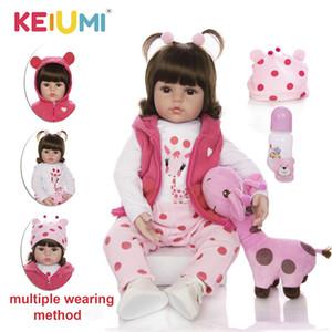 Presentes Dolls aniversário KEIUMI bebê Renascer real Menina de silicone suave Renascer Moda Bebê Stuffed Boneca Brinquedos Com Giraffe Playmate Y200111