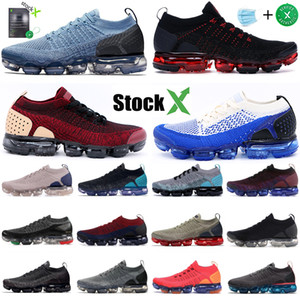 2019 Nike Vapormax flyknit 2.0 Fly 1.0 Zapatillas de correr Hombres Mujeres BHM Red Orbit Metallic Gold Triple Black Designer Shoes Sneakers Trainers 36-45