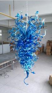 Dale Chihuly Style Blue Blown Cadena de vidrio Lámparas colgantes LED lámparas Leche Montado Murano Moderno Lámpara de araña para la decoración del hogar