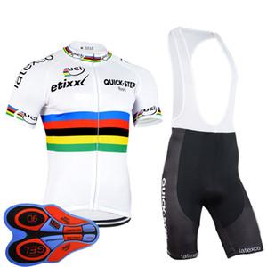 Pro Team QUICK STEP задействуя Джерси велосипед Uniformes Мужчины Quick Dry велосипеда рубашка нагрудник Pad шорты гель Наборы Гонки Одежда Спортивная Y123005