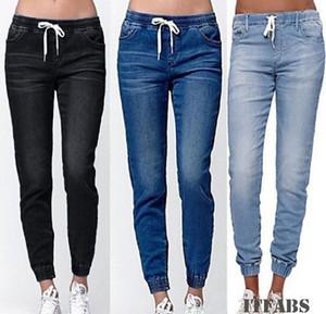Donne vita alta strappato elastiche Skinny Jeans matita del denim dei pantaloni Lady Jeggings pantaloni