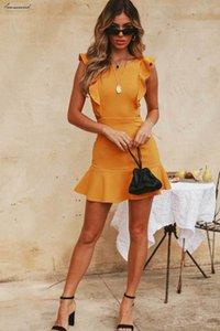 Summer Women Holiday Strappy Backless Sexy Clubwear Ruffles Sleeveless Frill Hem Ladies Beach Party Mini Dress Designer Clothes