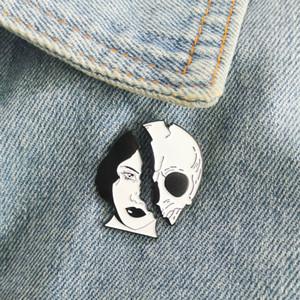 Morte Lovers Femme Squelette Visage émail Pins personnalisé Crâne Vêtements Sac Broches épinglette Badge Punk cadeau Bijoux cool