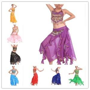 Bellydancing Costumes femme exotique Jasmine Belly Dance Costume Set avec Halter Top Ceinture Jupe Hip Scarf