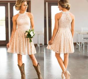 Economici corto pizzo cowgirls cowgirls damigelle d'onore abiti perle perle capezzole collo rosa al ginocchio boho beach damer wedding Guest Party Dress