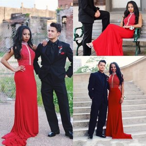 Halter Sexy Red Prom Dresses African Girls Beaded Long 2020 Formal Evening Gowns Sweep Train Special Occasion Party Dress Plus Size AL6400
