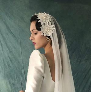 Принцесса фаты Дешевые длинные кружевные Фата два слоя на заказ кружева аппликация жемчуг край невесты Вуаль Бесплатная доставка