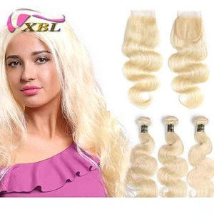 XBLHair Brazilian Body Wave 613 Blonde Human Hair 3 Bundles With Closure Non Remy Hair Extension 10-24inch Hair
