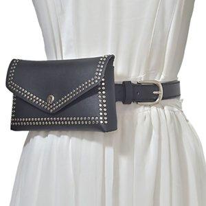 Couro mulher HOVERWIND Moda Rebites Bolsa de Cintura Belt Bag Phone Pouch Bloco de Fanny Mulheres pequeno do punk saco da cintura