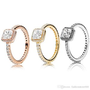 Real 925 Sterling Silver CZ Diamond RING Fit 18K Gold Wedding Ring Engagement Jewelry for Women