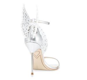 Hot Sale-Крыло бабочки Белый Сандалии лето Горячие Lady Sophia Webster Женщины Свадьба Свадебная обувь