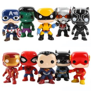 FUNKO POP 10pcs / lot DC Justice League Action-Figuren Marvel Avengers Dolls Super-Heros Charaktere Aktion Spielzeug Geschenke für Kinder