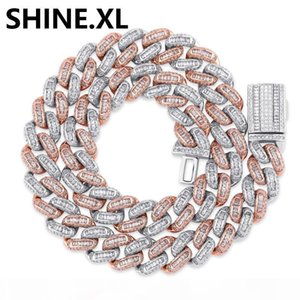 Hip Hop Cuban Link Chain 14mm White Gold Iced Out Cuban Chain Link Mens CZ Iced Necklace for Men Women Hip Hop Jewelry