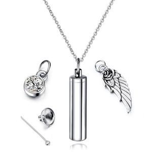 inoxidável cremação de aço jóias cilindro Pet Memorial colar urna produtos anjo de asa pet fazenda suprimentos