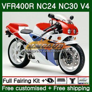 VFR400 R Para VFR400R 1987 1988 1989 1990 1991 1992 98CL.30 RVF VFR 400 R NC24 NC30 87 88 89 90 91 92 Rojo Blanco carenado