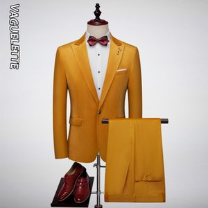 Vaguelette Solid Yellow / Royal Blue / Black костюм Зеленый Мужчины Slim Fit костюм Элегантный FormCasual Velvet Wedding Men Party Groom