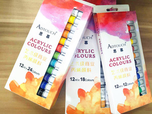 Adtouch Acrylic Paint Set 12 ML12 Colors Tubes Non Toxic Non Fading rofessional Acrylic Paint Watercolor Set Hand Wall Painting