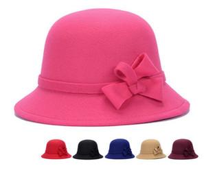 Nuevo Vintage Girls Ladies Top Sombreros Moda Fascinator Bowknot Floppy Stingy Brim Sombreros Cute Caps Mezcla de fieltro Trilby Bowler Hat Regalo de Navidad