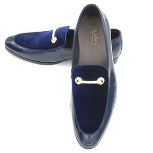 Sipriks Lüks Erkek Düğün Mavi Smokin Ayakkabı Patent Deri Siyah Ziyafet Elbise Ayakkabı Üzerinde Kayma Patron Asansör Ayakkabı Erkekler 44