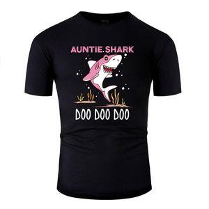 Версия для печати Тетушка Shark Повседневный T-Shirt Человек хлопок Унисекс мужчины и женщины футболки Круглый шеи Solid Color 2020 Hiphop