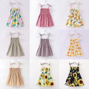 Enfants Filles Floral Citron Cerise Tournesol Robe Enfants Sling Fleurs Princesse Robes Sundress Suspendes Robe de plage Baby Vêtements M1487