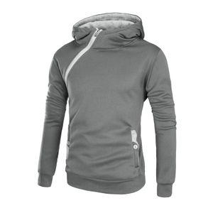 Мужчины куртка Diagonal Zip Solid Color Plus Velvet с капюшоном Толстовка Solid Color Повседневный пуловер Строчка Jacket
