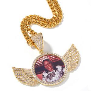 Özel Resim kolye kolye buzlu Out Zirkon Rpund Topraklar Geri Altın Gümüş Kaplama Mens Hip Hop Takı