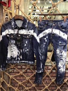 chaqueta de mezclilla, traje de mezclilla manga larga 2019 de los hombres. Alta calidad, el precio bajo, la parte superior denim + pantalones delgados 44-54 # 0086