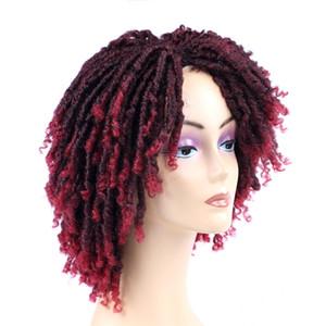 LansO Hair Soft Short Synthetic Wigs For Black Women 6 Inch High Temperature Fiber Dreadlock Ombre Burg Crochet Twist Hair