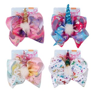 8 pollici JOJO Bow Girl Hair Bows Unicorn Star Rainbow Feather Design Bambini Bambini Clip per capelli JOJO SIWA Accessorio per capelli moda per bambino