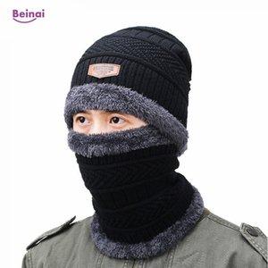 Beinai Winter Outdoor Thermal Hiking Caps Men Solid Windproof Knitted Hat Fleece Waterproof Ski Bike Motorcycle Helmet Run Hat