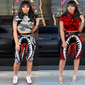 Ethika Women Designer Swimsuit Crop Top Vest + Swim Shorts Trunks Boxers 2 Piece Set Tracksuit Patchwork Shark Camo Swimwear Bikini E1