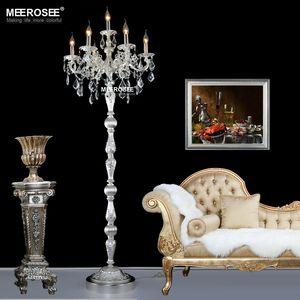 Modern cristal Candeeiro Lustres Floor Stand Luminária Cristal Prata / Bronze / Dourado Candelabra pe lâmpada de alta qualidade Home Lighting
