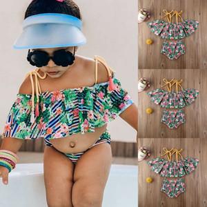 Bebek Bebek Çocuk Kız Çiçek Mayo Mayo Mayo Bikini Set Giyim