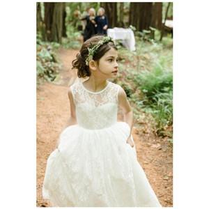 Festa de aniversário da flor do casamento de Boho Dress Bohemian completa Lace Crianças Primeira Comunhão Vestidos Menina Santo vestidos Customize