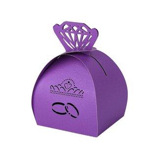 20pcs / pack Carrying Box papel partido portátil doce requintado presente Crafts Prático Hollowed dobrável Embrulho fontes do casamento