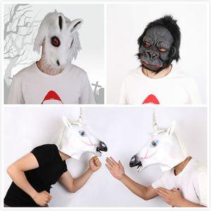 Halloween Creepy Animal mascherina del partito lattice maschera unisex spaventoso di cavallo Gorilla Coniglio Capo maschera di Halloween maschere spaventose