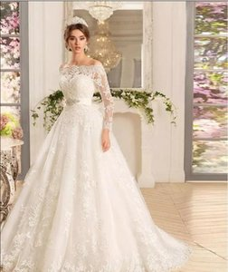 Custom Long Sleeves Lace Appliques illusion Wedding Dresses strapless 2020 with Beads applique Sash Sweep Train Tulle Wedding Bridal Gowns