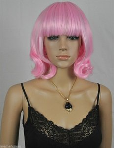 Cosplay Synthetic queen New Stylish pink Womens Girls Medium Fashion Full Curly Wig for women wigs