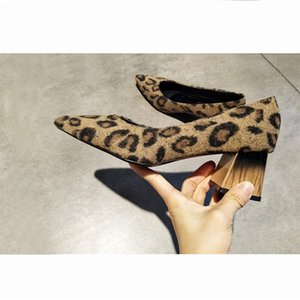 EOEODOIT Sexy Leopard Work Heels Shoes Women Spring New Arrival Med Chunky Heel Pointed Toe Pumps Slip On Flock Shoes 5 cm Y200702