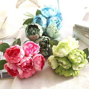 Hight Qualität Satin Blume 6 Köpfe Blumenstrauß künstliche Rose Blumen Vivid Peony Gefälschte Blumen nach Hause Wedding Partei Dekoration XD23211
