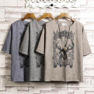Style chinois à manches courtes T-shirt pour hommes d'été T-shirt en lin Top T-shirts Vêtements de mode Taille Plus 5XL