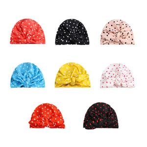 Tavşan Kulak Headwrap Bebek Kız Şeker Renkler için Bebek Türban Polka Dot Hint Şapka
