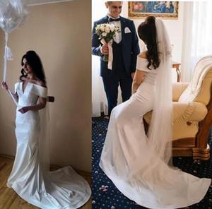 Simple Mermaid Wedding Dresses Sexy Off The Shoulder Stain Sweep Train Long Wedding Dress Custom Made