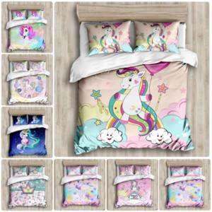 Desenhos animados Unicorn Bedding Set impresso capa de edredão Define Universo Rainha Rei da capa do edredon Lençois